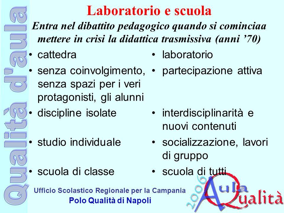 Laboratorio e scuola Entra nel dibattito pedagogico quando si cominciaa mettere in crisi la didattica trasmissiva (anni '70)