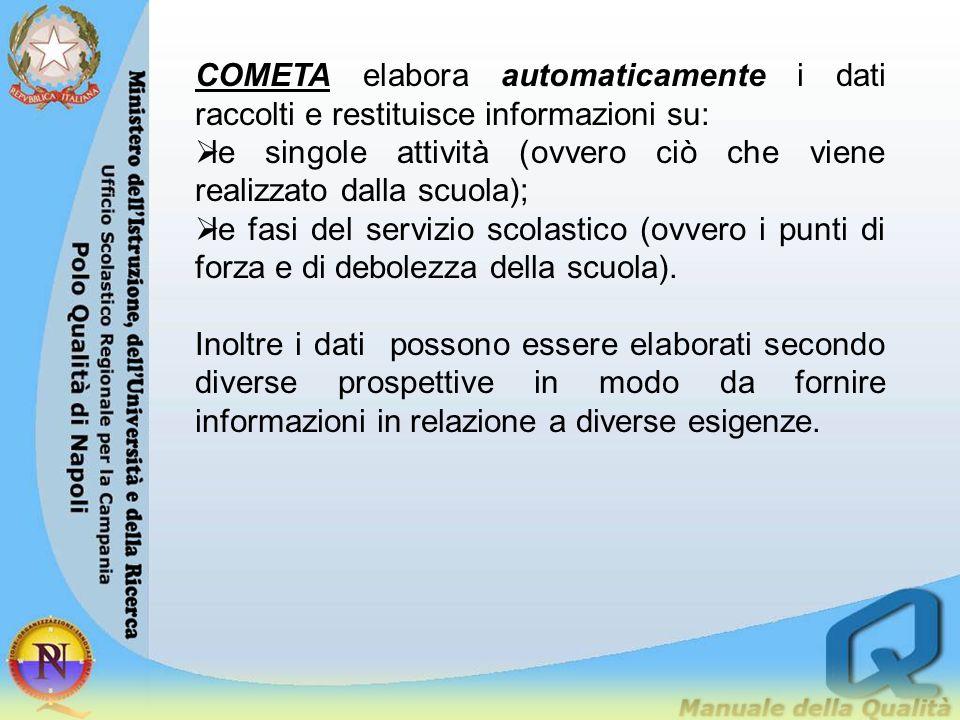 COMETA elabora automaticamente i dati raccolti e restituisce informazioni su: