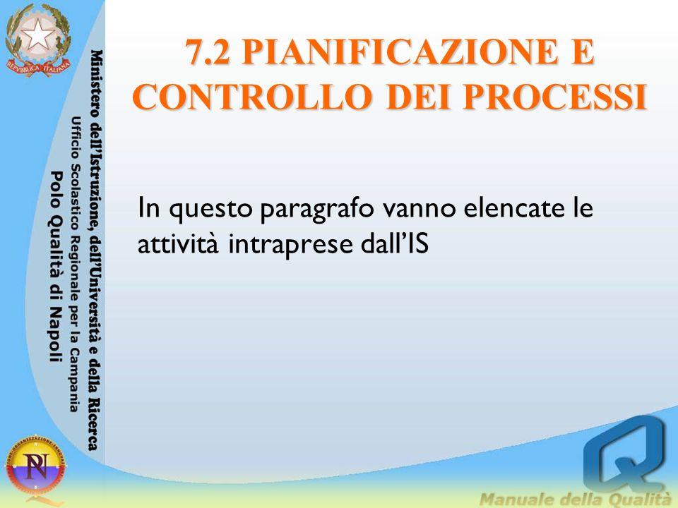 7.2 PIANIFICAZIONE E CONTROLLO DEI PROCESSI