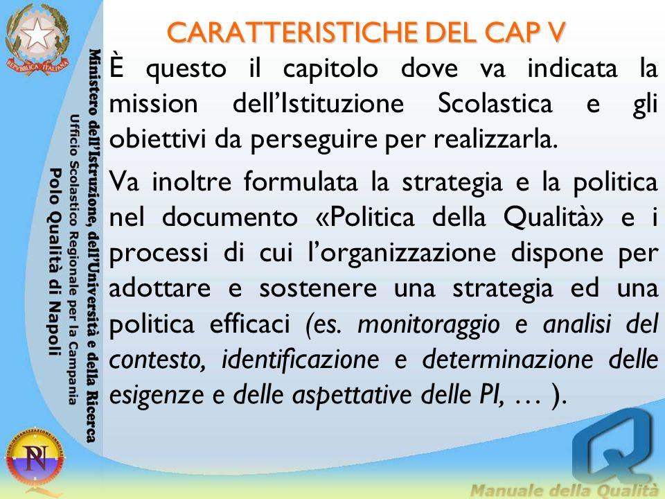 CARATTERISTICHE DEL CAP V
