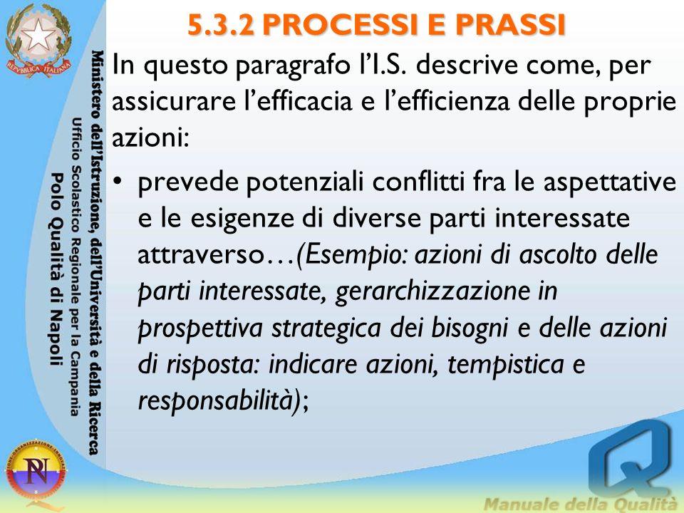 5.3.2 PROCESSI E PRASSI In questo paragrafo l'I.S. descrive come, per assicurare l'efficacia e l'efficienza delle proprie azioni: