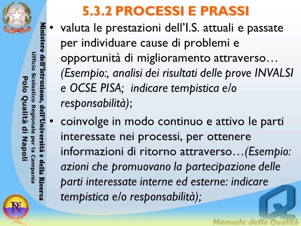 5.3.2 PROCESSI E PRASSI