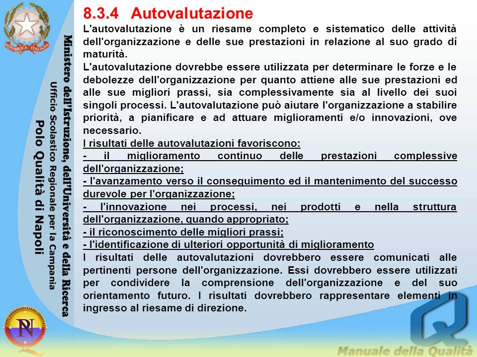 8.3.4 Autovalutazione