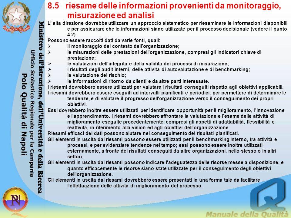 8.5 riesame delle informazioni provenienti da monitoraggio, misurazione ed analisi