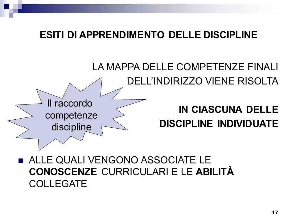ESITI DI APPRENDIMENTO DELLE DISCIPLINE