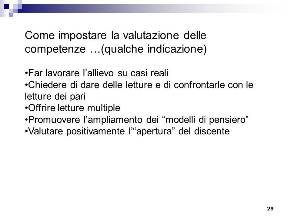 Come impostare la valutazione delle competenze …(qualche indicazione)