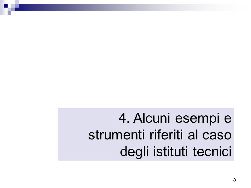 4. Alcuni esempi e strumenti riferiti al caso degli istituti tecnici