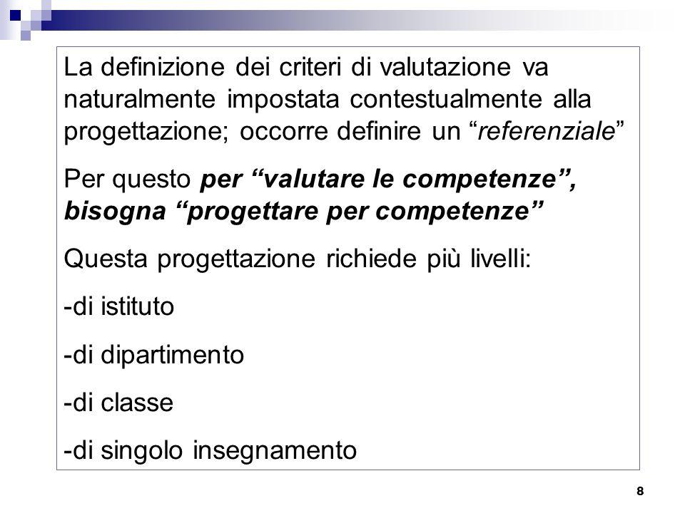 La definizione dei criteri di valutazione va naturalmente impostata contestualmente alla progettazione; occorre definire un referenziale