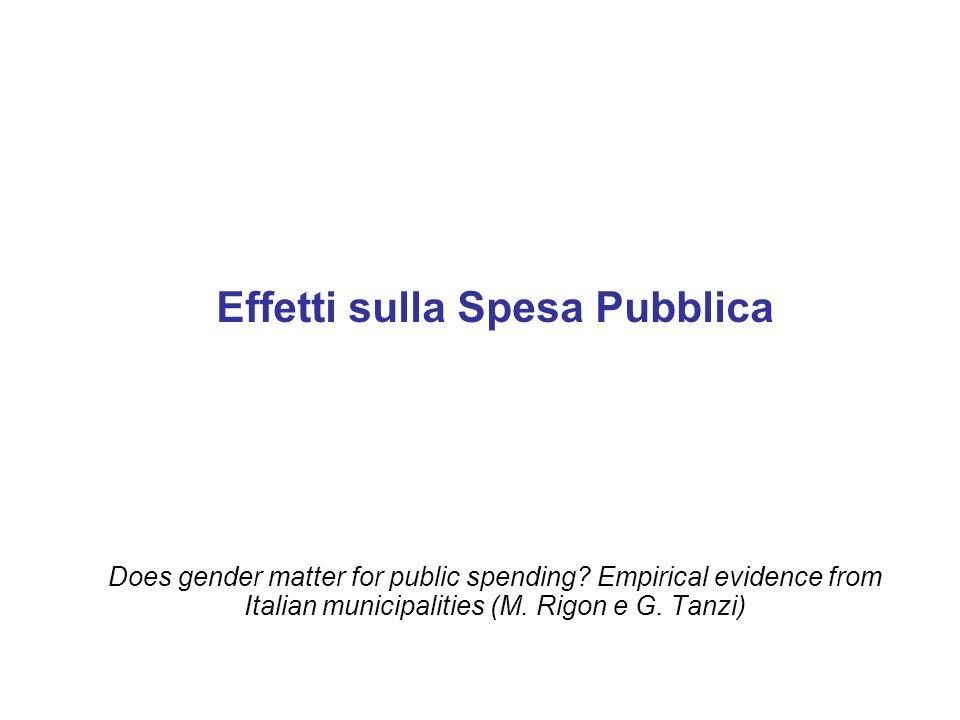Effetti sulla Spesa Pubblica
