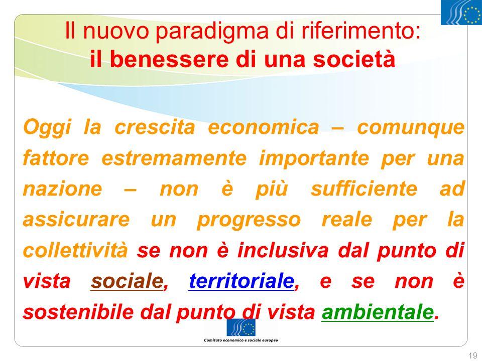 Il nuovo paradigma di riferimento: il benessere di una società