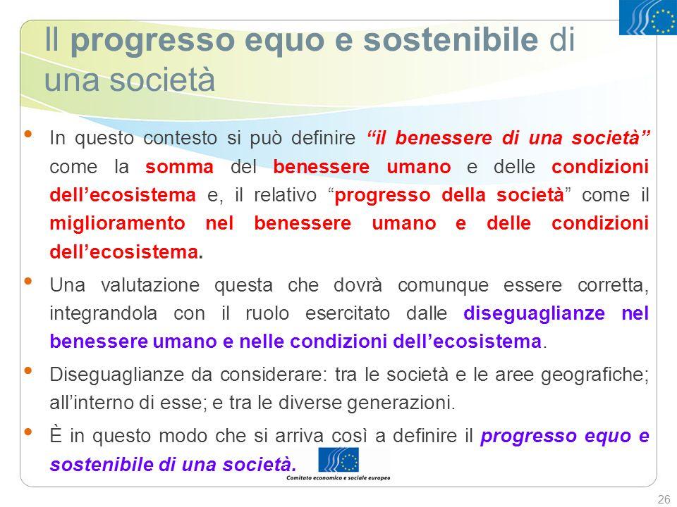 Il progresso equo e sostenibile di una società