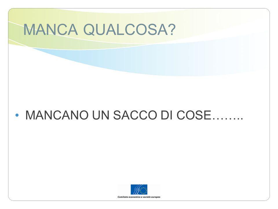 MANCA QUALCOSA MANCANO UN SACCO DI COSE……..