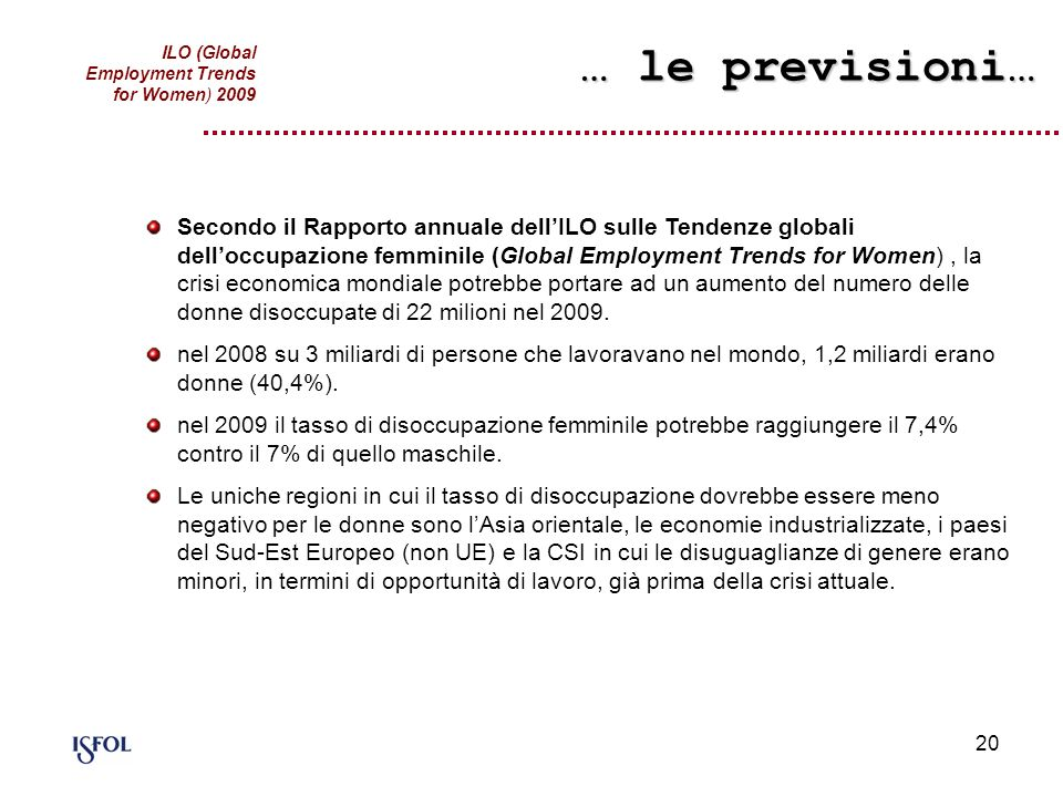… le previsioni…ILO (Global Employment Trends for Women) 2009.