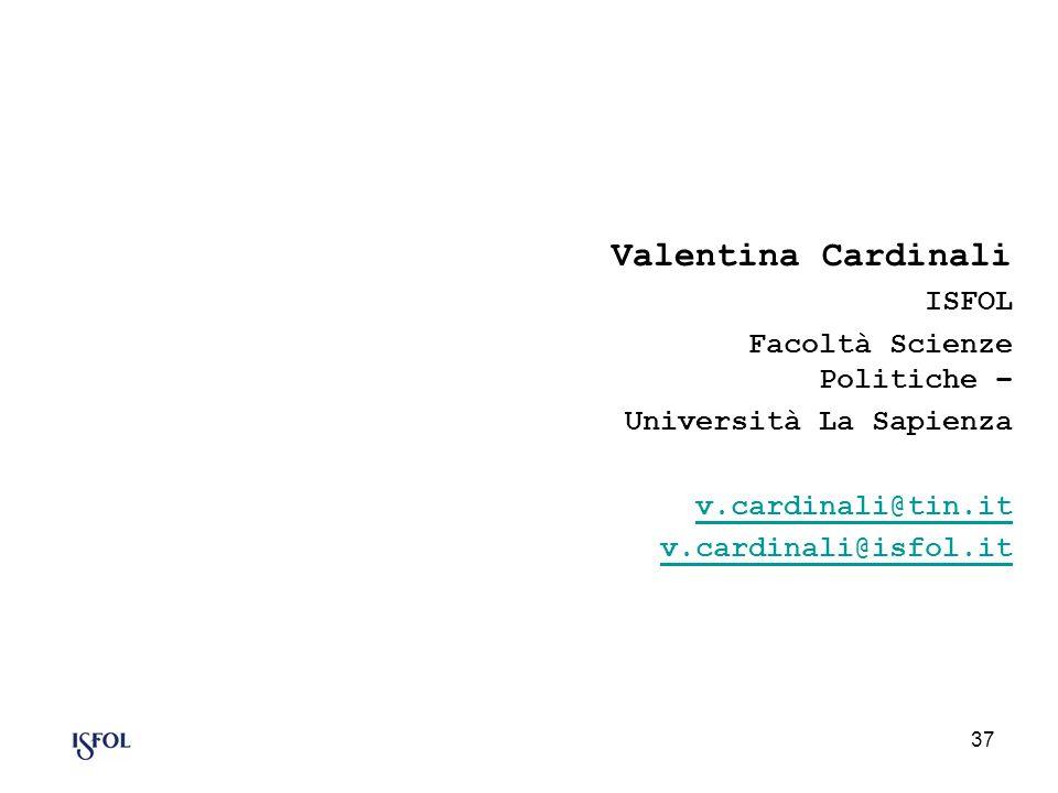 Valentina Cardinali ISFOL Facoltà Scienze Politiche –