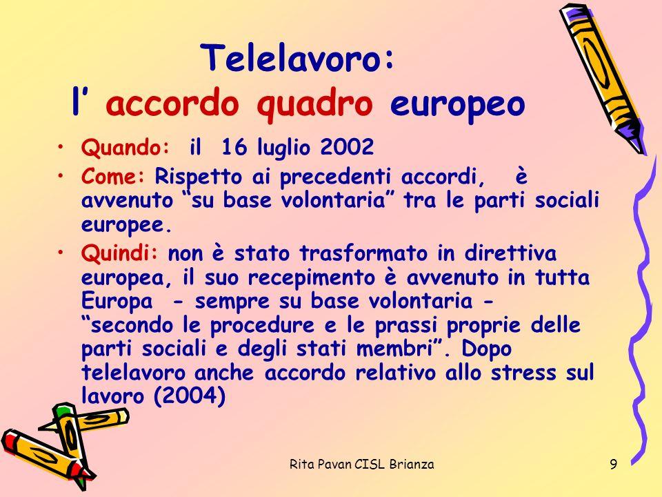 Telelavoro: l' accordo quadro europeo