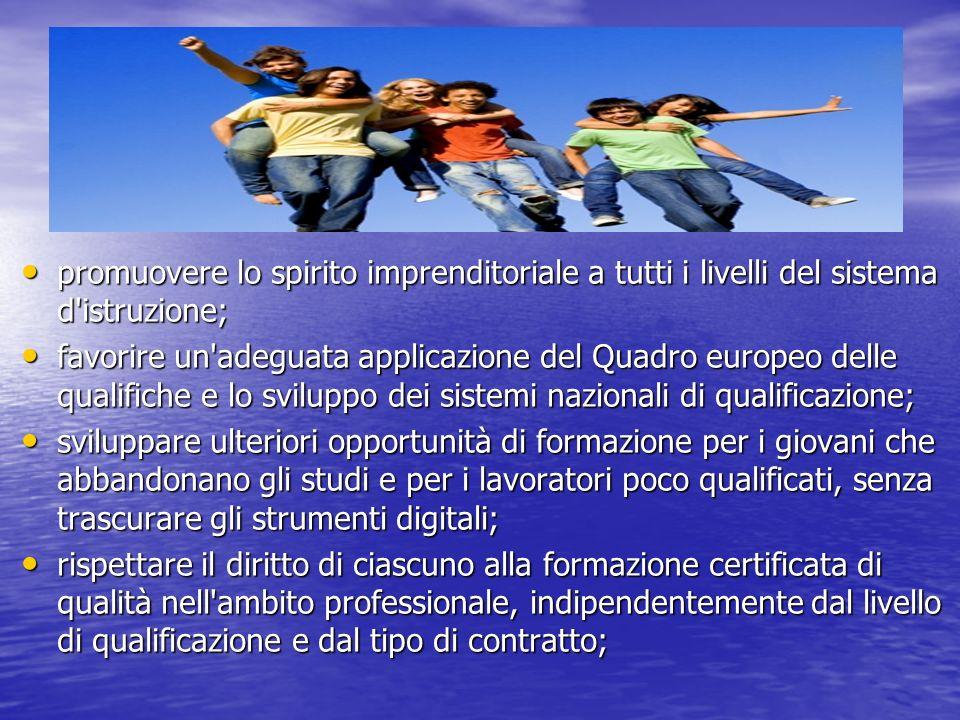 promuovere lo spirito imprenditoriale a tutti i livelli del sistema d istruzione;