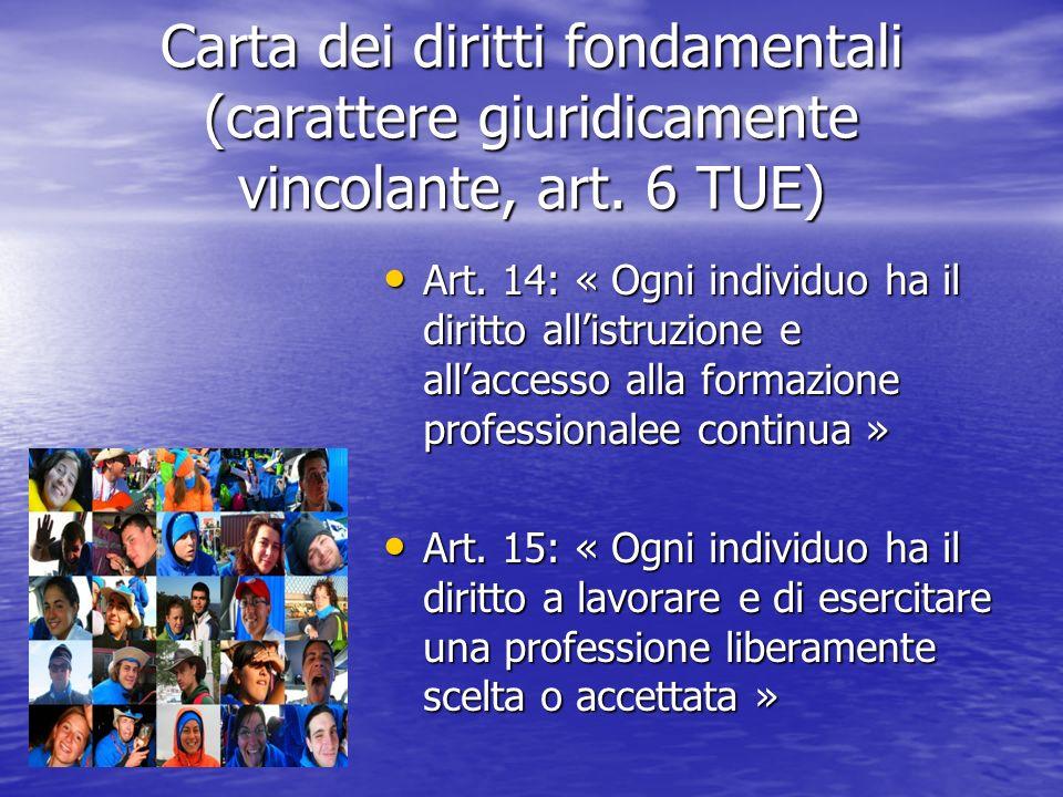 Carta dei diritti fondamentali (carattere giuridicamente vincolante, art. 6 TUE)