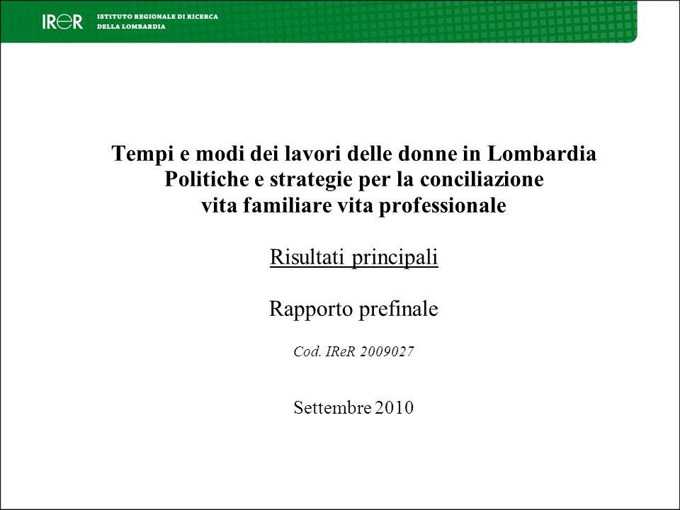 Tempi e modi dei lavori delle donne in Lombardia Politiche e strategie per la conciliazione vita familiare vita professionale Risultati principali Rapporto prefinale Cod.