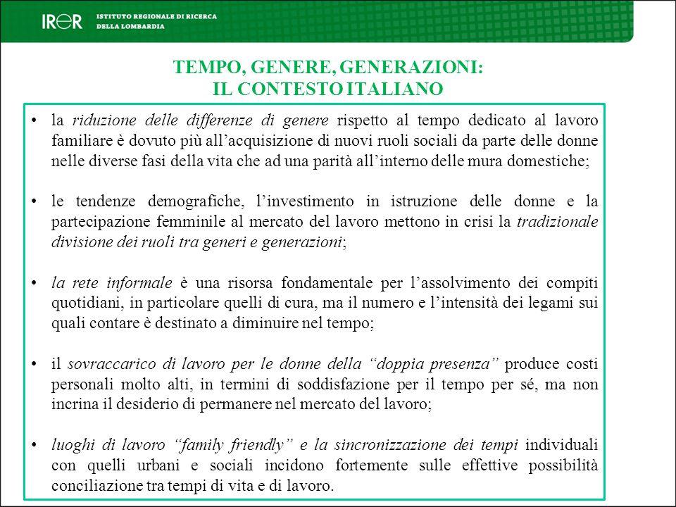 TEMPO, GENERE, GENERAZIONI: IL CONTESTO ITALIANO