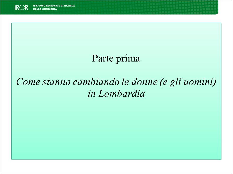 Parte prima Come stanno cambiando le donne (e gli uomini) in Lombardia