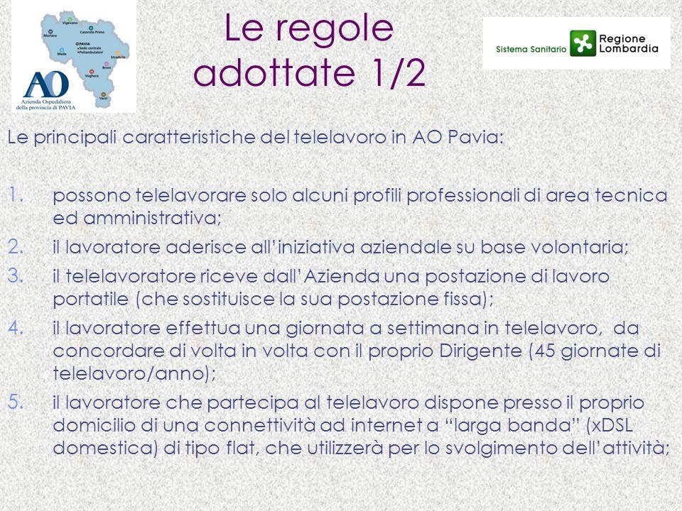Le regole adottate 1/2 Le principali caratteristiche del telelavoro in AO Pavia: