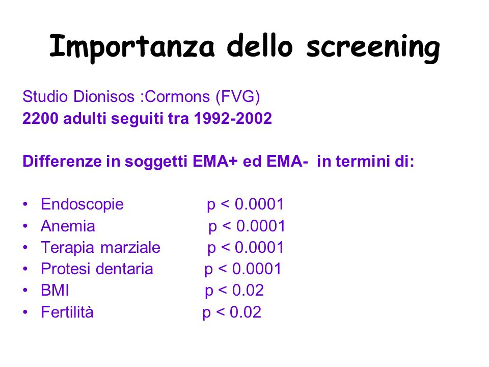 Importanza dello screening