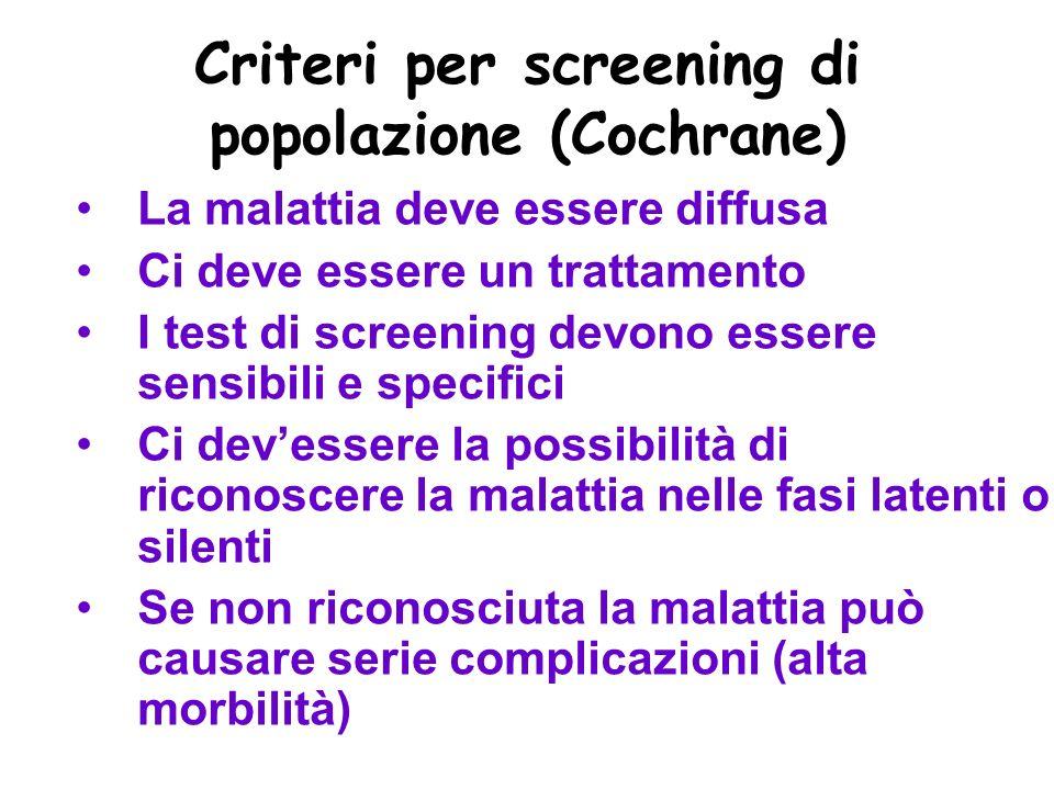 Criteri per screening di popolazione (Cochrane)