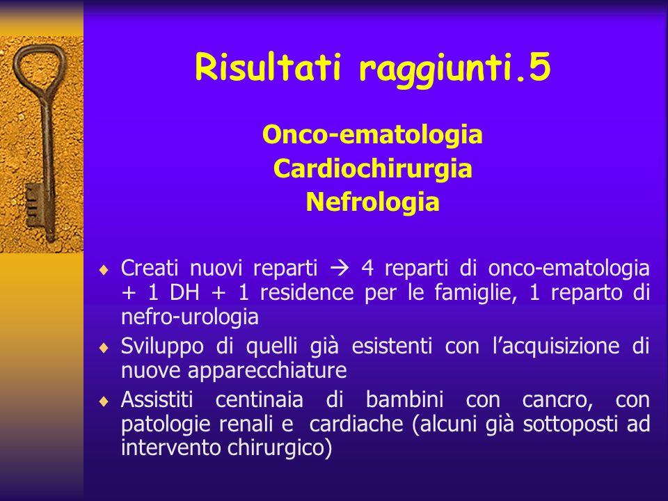 Risultati raggiunti.5 Onco-ematologia Cardiochirurgia Nefrologia