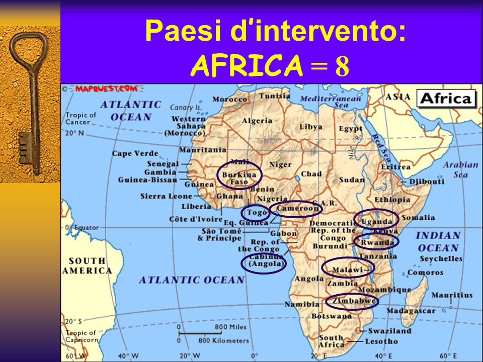 Paesi d'intervento: AFRICA = 8