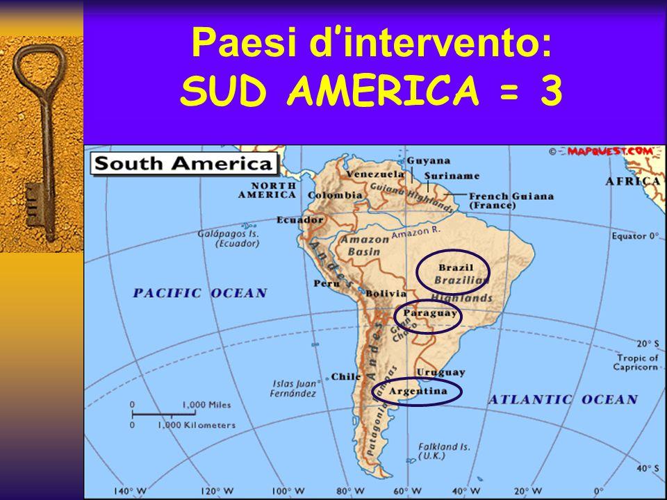 Paesi d'intervento: SUD AMERICA = 3