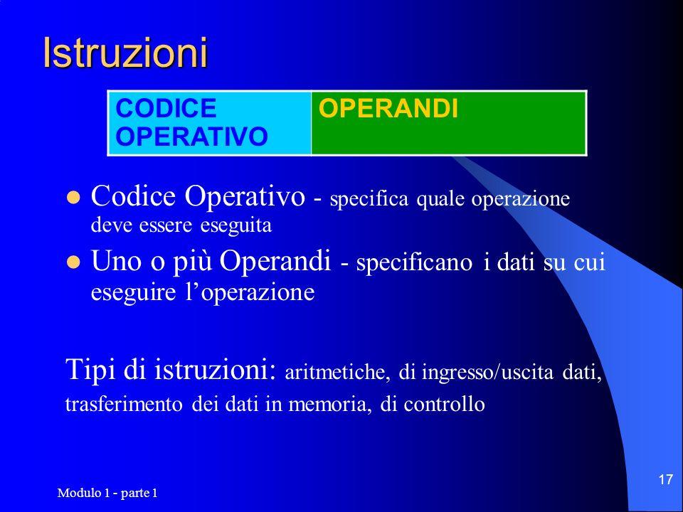 IstruzioniCODICE OPERATIVO. OPERANDI. Codice Operativo - specifica quale operazione deve essere eseguita.