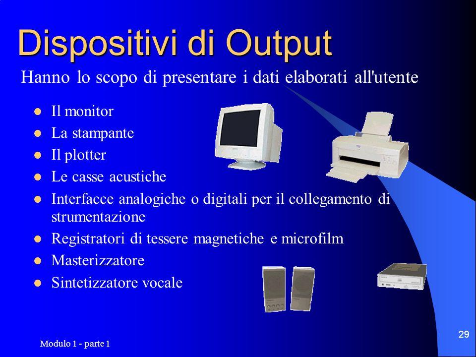 Dispositivi di OutputHanno lo scopo di presentare i dati elaborati all utente. Il monitor. La stampante.