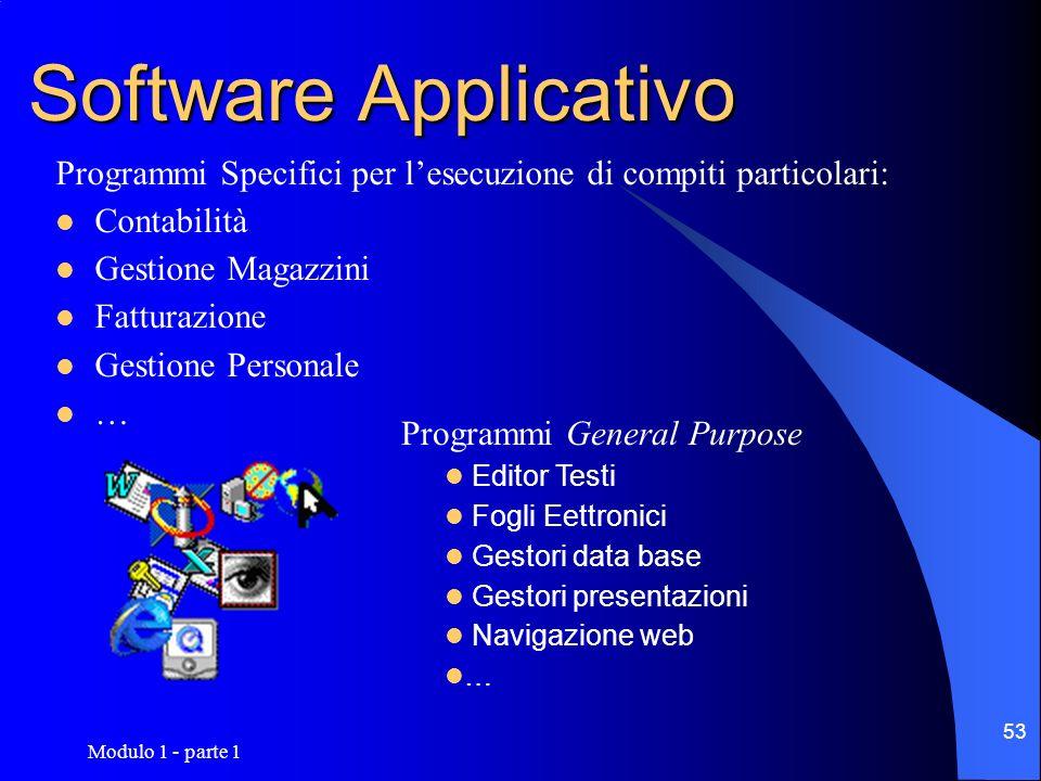 Software ApplicativoProgrammi Specifici per l'esecuzione di compiti particolari: Contabilità. Gestione Magazzini.