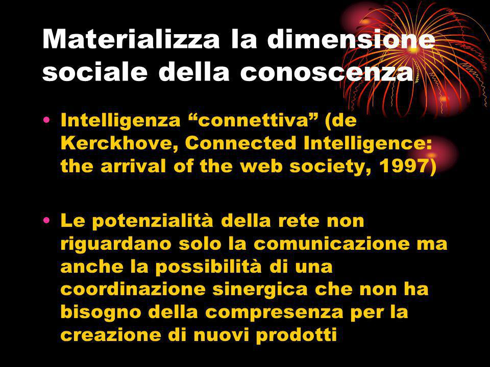 Materializza la dimensione sociale della conoscenza