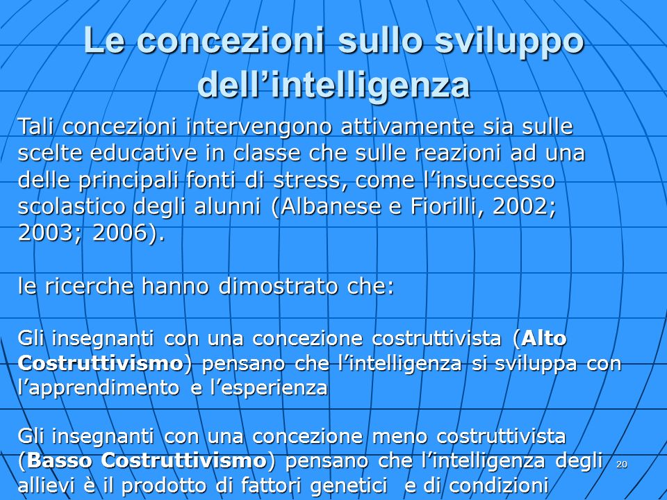 Le concezioni sullo sviluppo dell'intelligenza