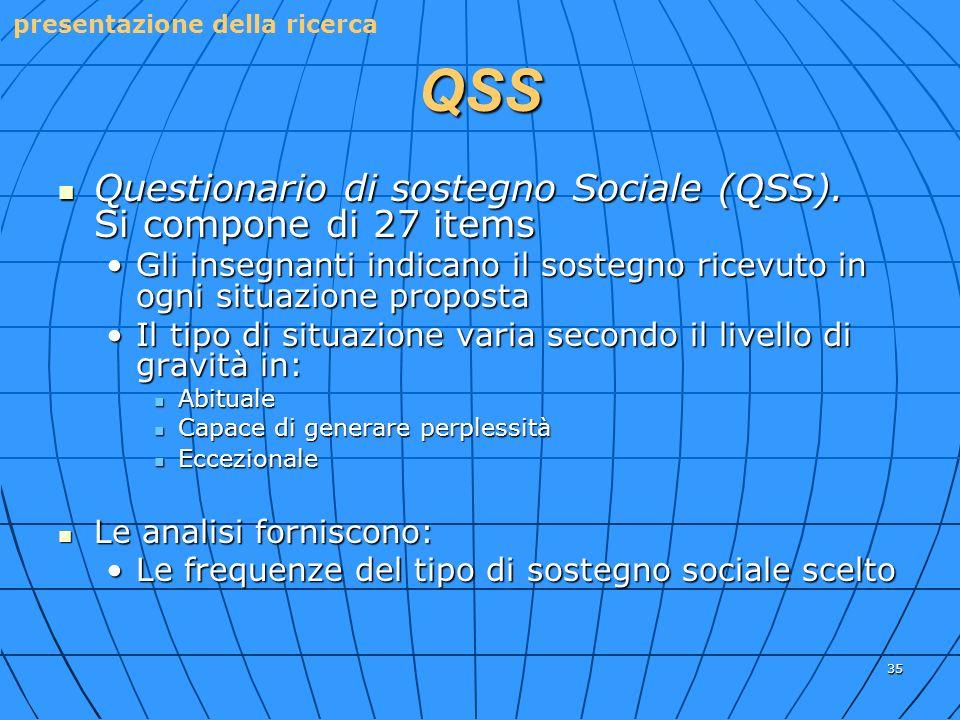 QSS Questionario di sostegno Sociale (QSS). Si compone di 27 items
