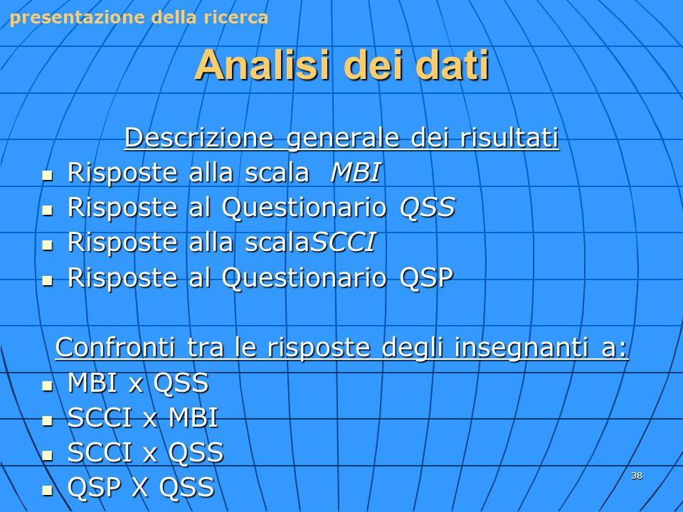Analisi dei dati Descrizione generale dei risultati