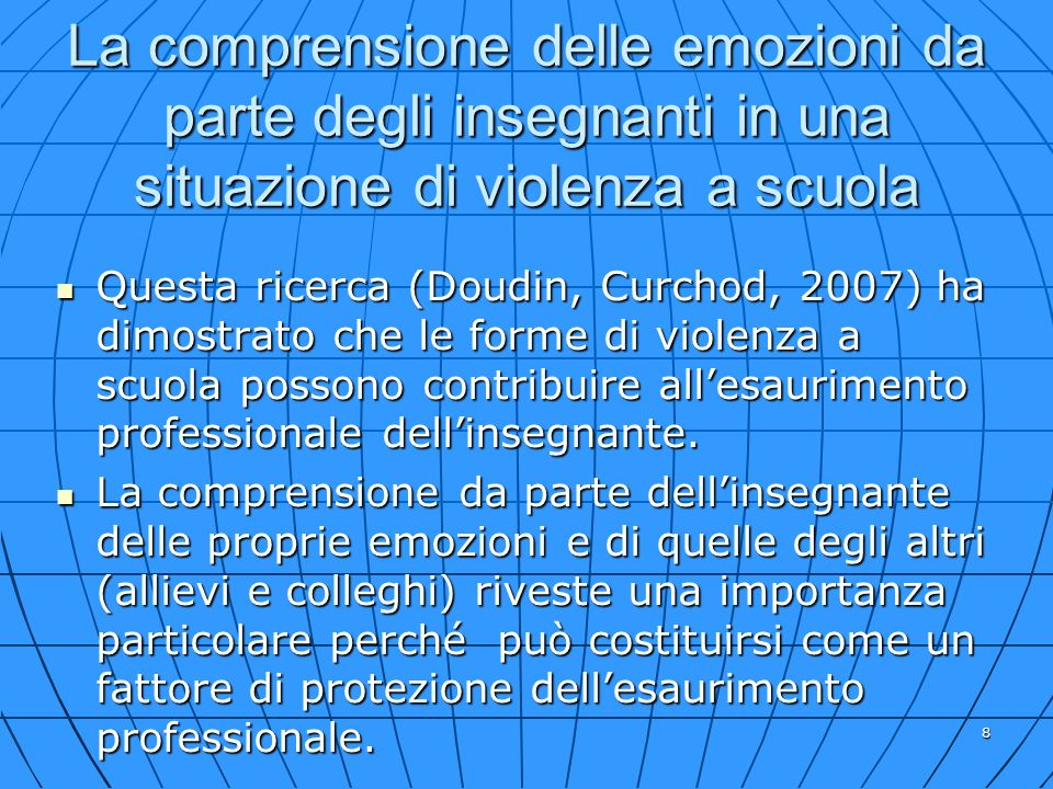 La comprensione delle emozioni da parte degli insegnanti in una situazione di violenza a scuola