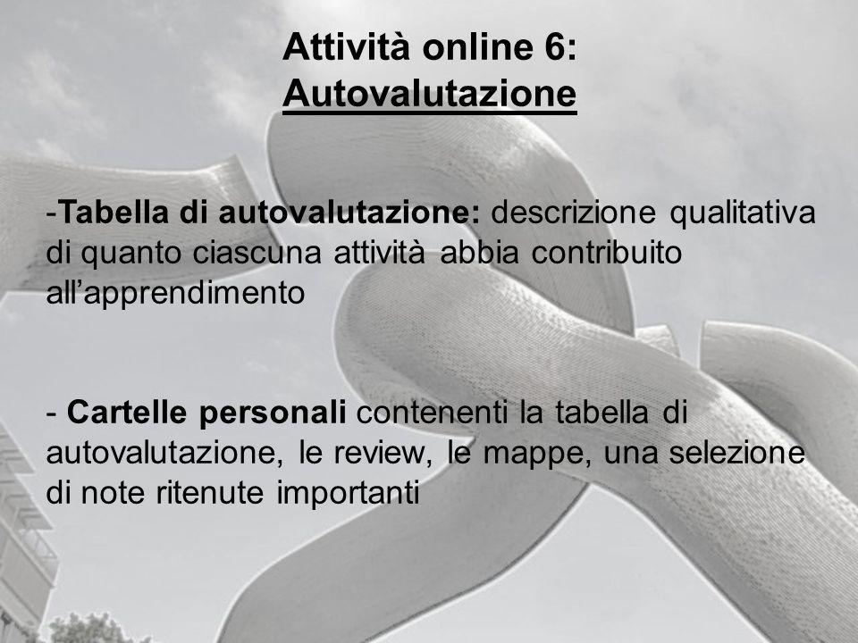 Attività online 6: Autovalutazione