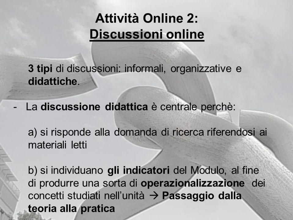 Attività Online 2: Discussioni online