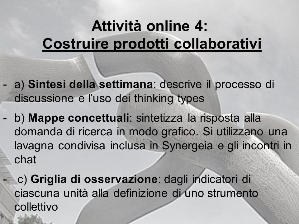 Attività online 4: Costruire prodotti collaborativi