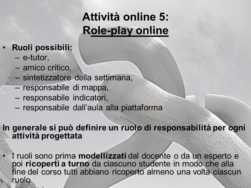Attività online 5: Role-play online