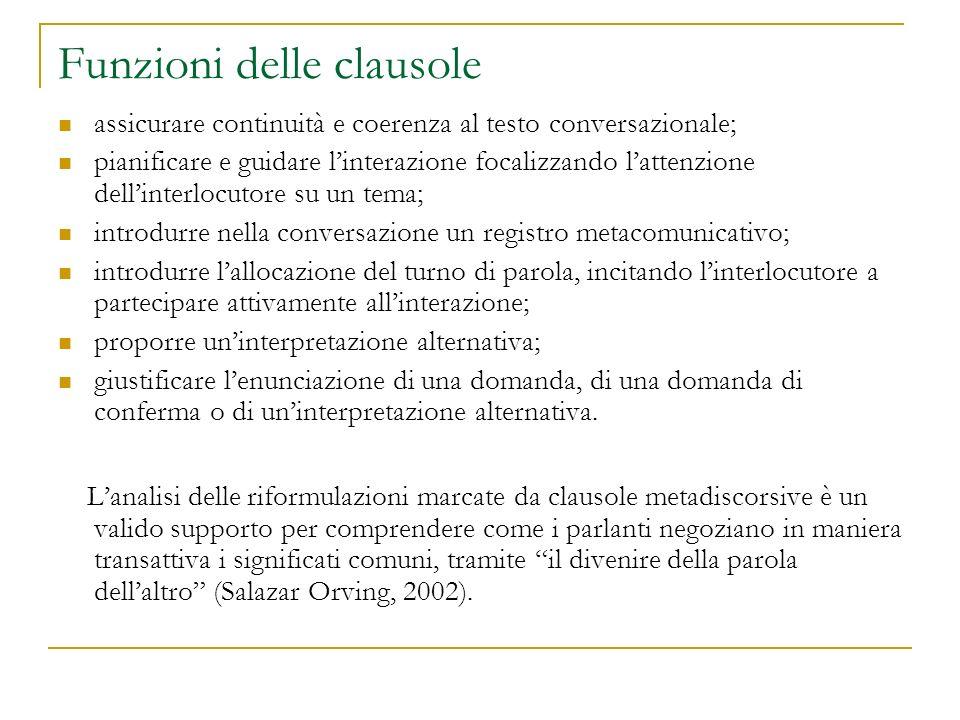 Funzioni delle clausole