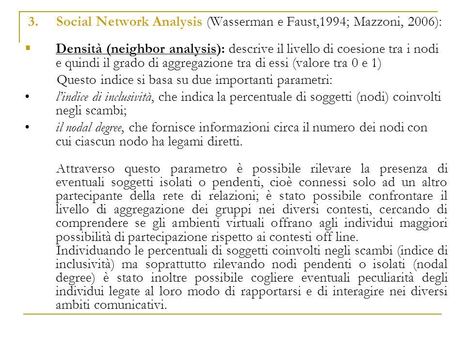 3. Social Network Analysis (Wasserman e Faust,1994; Mazzoni, 2006):