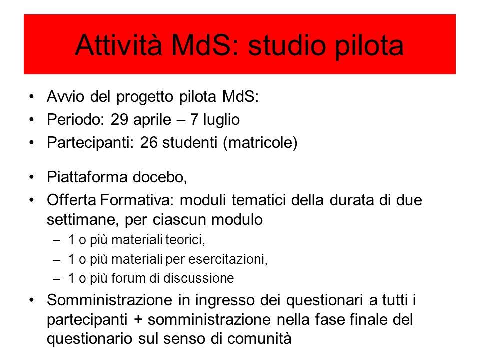 Attività MdS: studio pilota
