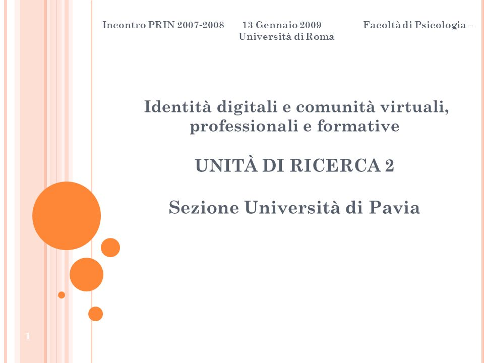 Incontro PRIN 2007-2008 13 Gennaio 2009