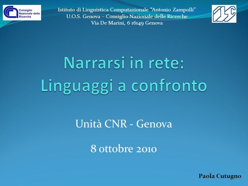 Narrarsi in rete: Linguaggi a confronto