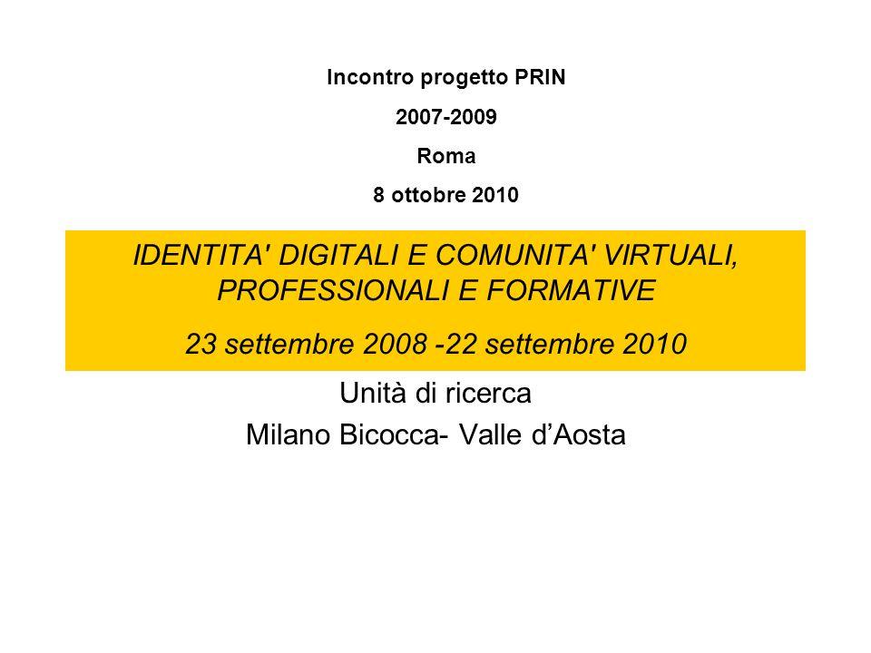 Unità di ricerca Milano Bicocca- Valle d'Aosta