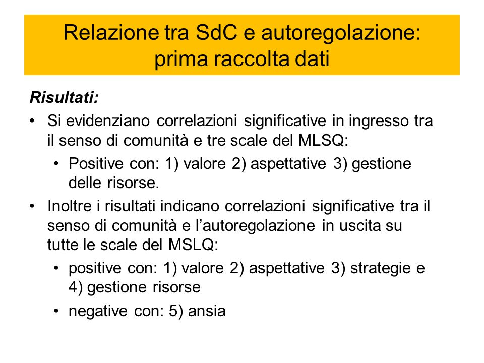 Relazione tra SdC e autoregolazione: prima raccolta dati