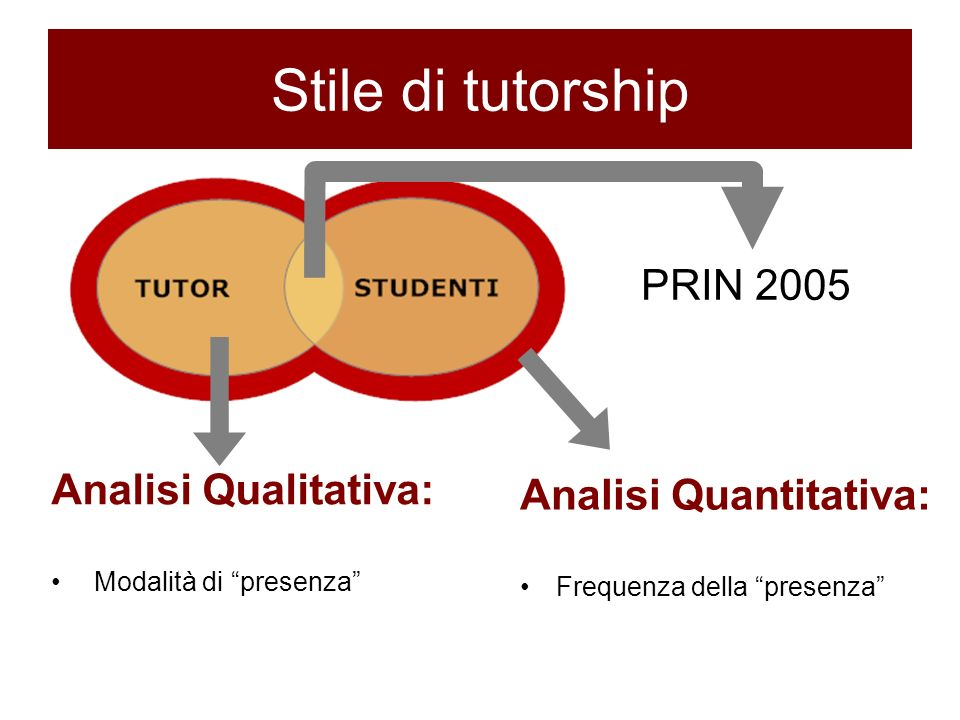 Stile di tutorship PRIN 2005 Analisi Qualitativa: